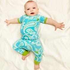 Bedhead Pajamas Baby Shirt & Pant Set Hawaiian Paisley Lagoon - Final Sale BH2030K181