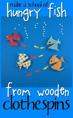 Clothespin Crafts: Hungry Fish by Amanda Formaro of Crafts by Amanda - Fisch Krafts Ideen Adult Crafts, Diy Crafts For Kids, Craft Activities, Preschool Crafts, Sabbath Activities, Printable Valentines Day Cards, Wooden Clothespins, Wooden Clothespin Crafts, Edible Crafts