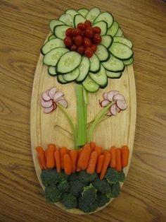 flower veggie tray