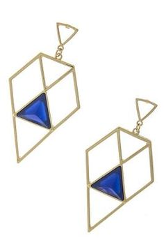 Open Gold and Blue Diamond Dangle Earrings