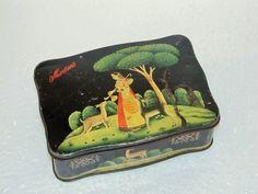 Vintage Lady Playing Veena Print Morton's Ad Litho Tin Box