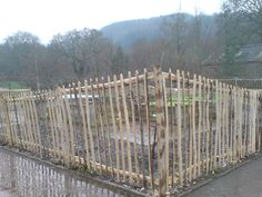 A cleft chestnut paling fence at Rosemoor gardens,Torrington,N.Devon.