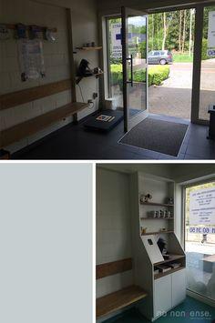 voor en na van de wachtruimte van een dierenartsenpraktijk #no_nonsense_design