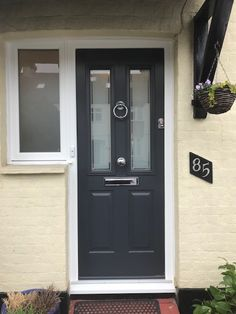 Sunday Solidor Check out this Ludlow Solidor Installation in New Malden Anthracite Grey. Chrome letterplate, Knob and Ring. Solidor Composite Doors Call for your FREE quote on 02086444224 We get it right at Wright Glazing Yellow Front Doors, Front Doors With Windows, Front Door Entrance, House Front Door, Glass Front Door, Entry Doors, Front Porch, Grey Upvc Doors, Grey Composite Front Door