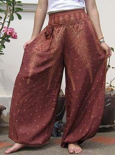 Bohemian Harem Wide Leg Yoga Boho Hippie Pants Trousers Brown #women's fashion #fashion #Gifts