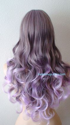 Hey, I found this really awesome Etsy listing at https://www.etsy.com/listing/212583403/lavender-ombre-wig-long-curly-hair-long
