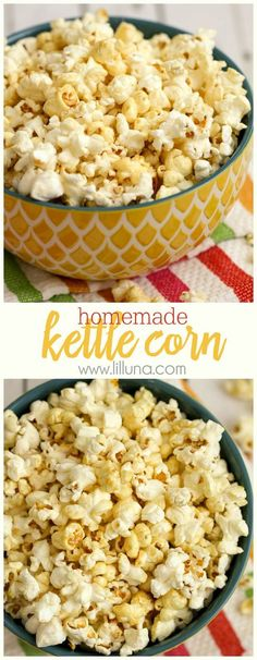 Kettle Corn Homemade Kettle Corn - you'll never want to buy it again after you try it this way. Recipe on { }Homemade Kettle Corn - you'll never want to buy it again after you try it this way. Flavored Popcorn, Popcorn Recipes, Snack Recipes, Cooking Recipes, Popcorn Snacks, Popcorn Balls, Pop Popcorn, Party Snacks, Vegan Popcorn