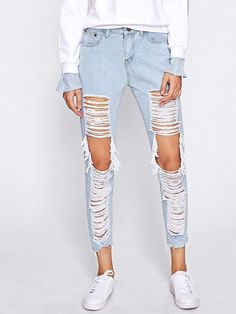 8e162043378 Extreme Distressing Ripped Knees Jeans