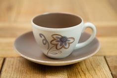 Poole Pottery Trudiana Floral Cup and Saucer on Streamline Shape, designed by Ruth Pavely, Circa 1950's.
