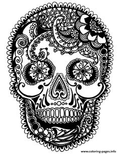 print skully sugar skull coloring pages - Sugar Skull Coloring Pages Print