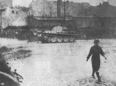 The captured Panther tank 'Magda' sits on ul. Okopowa behind is the Pfeiffer Tannery. The Panther was captured from  I./Panzer-Regiment.27/19.Panzer-Division.