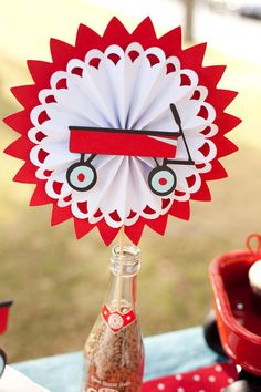 Little Red Wagon Centerpiece Rosette by EMTsweeetie on Etsy, $10.00
