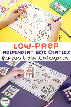These easy and low prep box centers are a must for your lesson plans for your Kindergarten or Pre-k classrooms. No matter how you are teaching this year - box centers are an amazing resource to add to your students' learning activities! Designed for Pre-K and Kindergarten math and literacy centers, box centers are perfect for social distancing or distance learning (with hands-on materials). #kindergarten #prek #teacherresources #kindergartenteacher