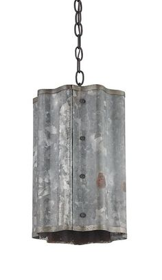 Who knew industrial machinery could look so good? The wavy Galvanized sheet metal that forms the body of the Frontier Pendant gives this fixture a truly distinctive feel. Old Iron chains complete the rustic look. Galvanized Sheet Metal, Galvanized Decor, Corrugated Tin, Sheet Metal Decor, Pendant Light Fixtures, Pendant Lighting, Light Pendant, Mini Pendant, Industrial Machinery