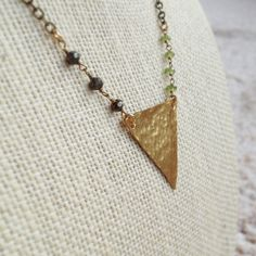 Hammered Brass Triangle Necklace w/ Pyrite & Peridot / Boho Chic Geometric Jewelry by MuffyandTrudy on Etsy