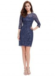[Clearance Sale] Elegant Cocktail Dress Ever Pretty Vintage Lace Three Quarter Sleeves Blue Party Dress 2017 Cap Dress, Lace Sheath Dress, Lace Dress Black, Blue Lace, Sequin Dress, Elegant Cocktail Dress, Cocktail Dresses, Marine Uniform, Ever Pretty