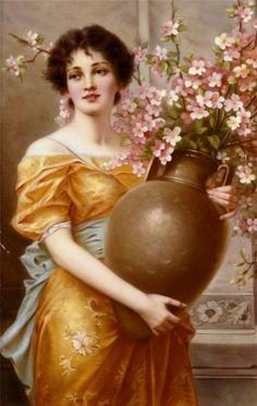 Painting by Conrad Kiesel Russian Painting, Russian Art, Painting Gallery, Art Gallery, Vintage Beauty, Vintage Art, Vintage Prints, Modern Art Pictures, Art Beauté