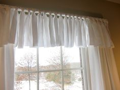 Sew Curtains easy and interesting no-sew window valance.adds a texture to the valance that plain valances don't have. - Here's my easy tutorial for a no sew window valance myself at a fraction of the cost of the identical one at Pottery Barn. No Sew Valance, No Sew Curtains, Rod Pocket Curtains, Valances, Girls Room Curtains, Bedroom Drapes, Window Coverings, Window Treatments, Pottery Barn Inspired