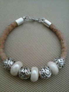 Bracelet made with cork metal and glass beads