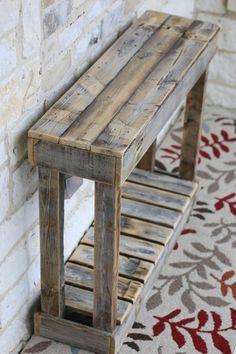 """36 """"Lamellenkonsole # Lamellenkonsole – Holz DIY Ideen – Famous Last Words Wooden Pallet Projects, Wooden Pallet Furniture, Wooden Pallets, Rustic Furniture, Furniture Ideas, Furniture Design, Pallet Wood, Pallet Table Outdoor, Cheap Furniture"""