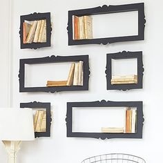 Avant-garde baroque style, black metallic BOOKSHELVES with an ornate frame shape. Each book shelf is open at the side and this unique shelving idea looks great when mounted individually but really terrific in a set of multiple shelves. Double 12.6 (H) x 26.4cm (W) 78.00 ... Single - 12.6 (H) x 12.6 (W) 45.00 books-in-home-decor