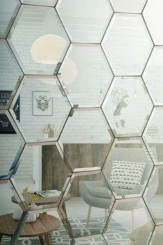 Hexagonal Silver Mirrored Bevelled Wall Tiles