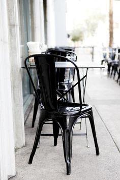 Chic black n white dresses the sidewalk