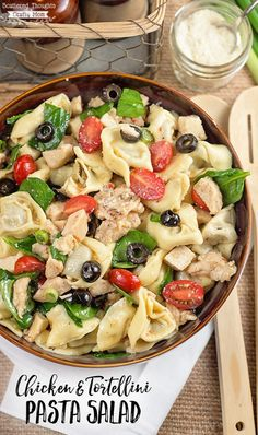 Tortellini, chicken, spinach and tangy Italian spices come together perfectly in this easy Chicken and Tortellini Pasta Salad.  The addition of chicken makes this pasta salad a great option for dinner or a side dish.