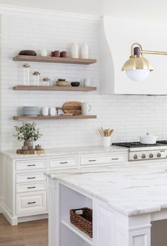 Design: Ursino Interiors // Photo credit: Raquel Langworthy // Renovations: Merrick Builders Co Floating Shelves Kitchen, Inset Cabinetry, Home Kitchens, Kitchen Remodel, White Kitchen Floating Shelves, Interior, Kitchen Interior, Home Decor, Floating Shelf Decor
