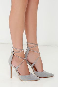Role Grey Suede Lace-Up Heels Leading Role Grey Suede Lace-Up Heels at !Leading Role Grey Suede Lace-Up Heels at ! Pretty Shoes, Beautiful Shoes, Cute Shoes, Me Too Shoes, Zapatos Shoes, Shoes Heels, Lace Up Heels, Grey Heels, Caged Heels
