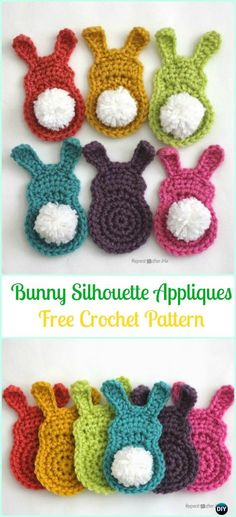 Crochet Bunny Silhouette Appliques Free Pattern-Crochet Bunny Applique Free Patterns