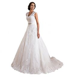 VEPYCLY Double V-neck Sleeveless Lace Applique and Satin A-line Wedding Dresses -- Click image to review more details. (This is an affiliate link and I receive a commission for the sales)