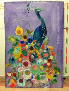 """Floral Peacock on Purple"" by Elizabeth Saint Hilaire Nelson. Paper Collage Art, Collage Art Mixed Media, Peacock Painting, Peacock Artwork, Collaborative Art, Collages, Art Plastique, Magazine Art, Bird Art"