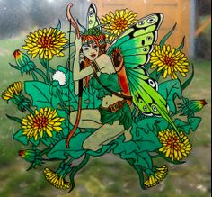spring fairy wicoart HANDMADE STAINED GLASS EFFECT WINDOW CLING EASY TO APPLY AND TO REMOVE HAND PAINTED WITH GALLERY GLASS AND GLASS PAINT PEBEO ON AN ELECTROSTATIC VINYL SHEET ONE OF A KIND OOAK
