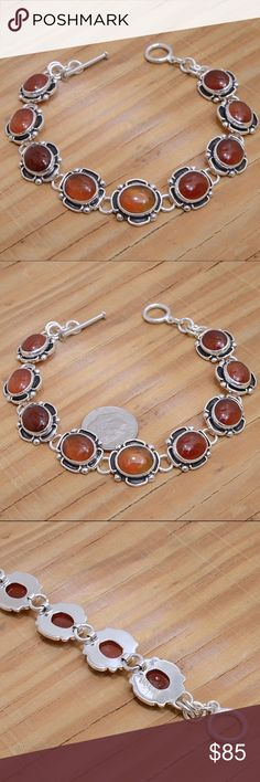 "‼️Clearance‼️Sterling Silver & Red Agate Bracelet Stamped ""Sterling"".   This is not a stock photo. The image is of the actual article that is being sold  Size: 8 inches long  Sterling silver is an alloy of silver containing 92.5% by mass of silver and 7.5% by mass of other metals, usually copper. The sterling silver standard has a minimum millesimal fineness of 925.  All my jewelry is solid sterling silver. I do not plate.   crafted in Taxco, Mexico.  Will ship within 2 days of order…"