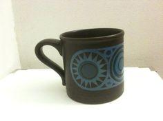 Staffordshire brun kopp med blå dekor nok 75