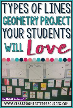 Your students will LOVE this Geometry project that covers the three types of lines: parallel lines, perpendicular lines and intersecting lines. This is a great way to combine art and math! Come grab this FREE activity. Line Geometry, Geometry Lessons, Teaching Geometry, Geometry Activities, Teaching Math, Math Activities, Maths, Geometry Tattoo, Teaching Tips