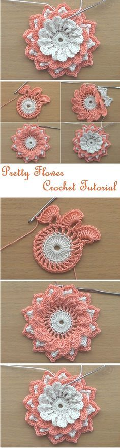 "HUZUR SOKAĞI (Yaşamaya Değer Hobiler) ""Crochet Flowers Tutorial by misty"", ""Free crochet pattern for small flower applique."", ""How to knit crochet fl Crochet Flower Tutorial, Crochet Flower Patterns, Crochet Motif, Irish Crochet, Crochet Designs, Crochet Doilies, Crochet Stitches, Knit Crochet, Crochet Roses"