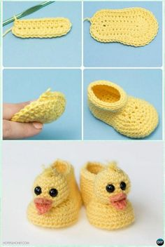 Crochet Duckling Baby Booties.