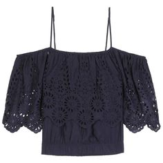 Ganni Yoko Lace-Trimmed Off-the-Shoulder Blouse (1870 MAD) ❤ liked on Polyvore featuring tops, blouses, blue, off the shoulder tops, blue blouse, off shoulder tops, lace trim top and blue off the shoulder top