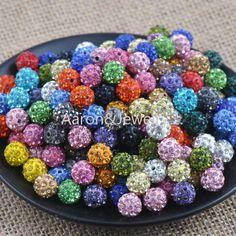 10 mm de várias cores Disco bola de cristal Shamballa spacer Beads Fit Handmade XB-10-X