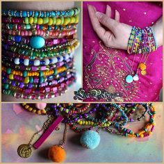 https://flic.kr/p/SQYmqd | JAIPUR bracelet set | Colorful stretch bracelets with pom poms on chain, coin and charms.
