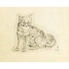 "from A Book of Cats, 1930 | by Leonard Tsugoharu Foujita -- HE KNEW CATS.   Try ""CONTROL F"" (for FIND) inside this board, search word Foujita (do capitalize it) to see many wonderful photos & paintings, in additions to drawings."