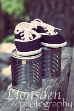 baby boy, maternity photo- cute use of cans and with some pink ribbon on them would be cute for girl