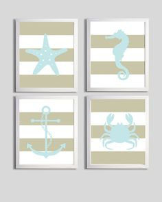 Nautical Nursery Art more colors available set of 4 each 11x14. $56 via Etsy.