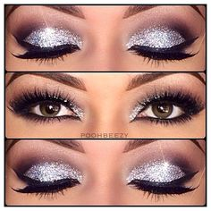 glittery makeup inspiration for brown eyes: light grey glitter + plum + black eyeshadows for a perfect party look!