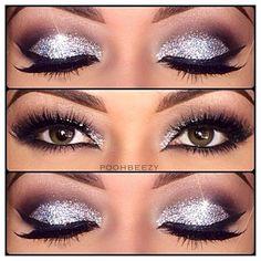 glitter makeup for brown eyes | glittery makeup inspiration for brown eyes: light grey glitter + plum ...