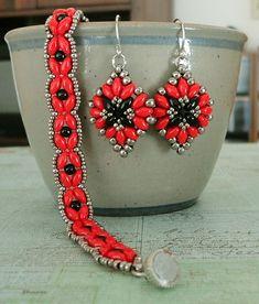 """CUTE & EASY EARRINGS 15/0 seed beads Miyuki """"Nickel Plated"""" (190) 8/0 seed beads Miyuki """"Nickel Plated"""" (190) SuperDuo beads """"Jet"""" S..."""