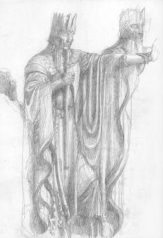 tolkienismyreligion:The Argonath sketchAlan Lee
