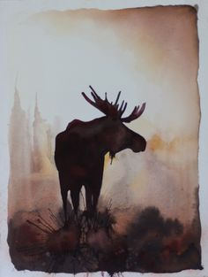 Moose Silhouette Painting//watercolor and guache